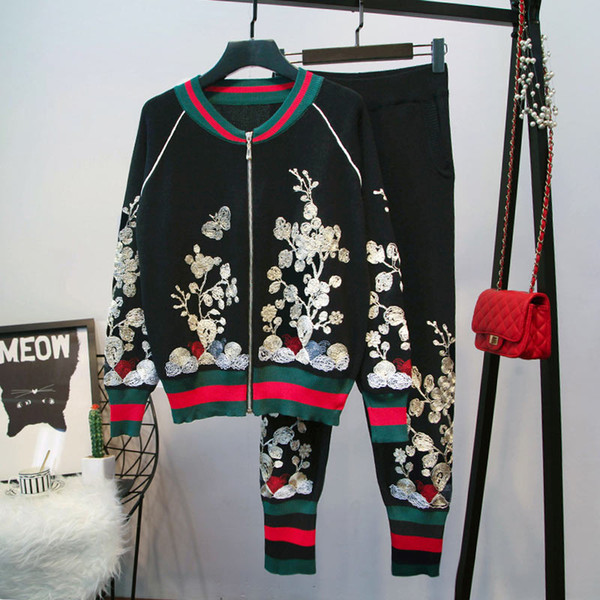 2019 весна новая женская спортивная одежда европа и сша вышивка с длинными рукавами вязать кардиган свитер брюки брюки женский костюм