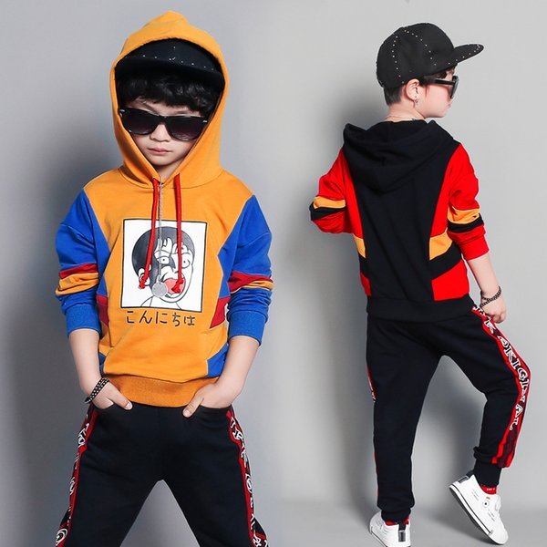 Japan Comics children's suit big children's casual sportswear spring Korean version of the big boy long-sleeved sweater two sets of tide
