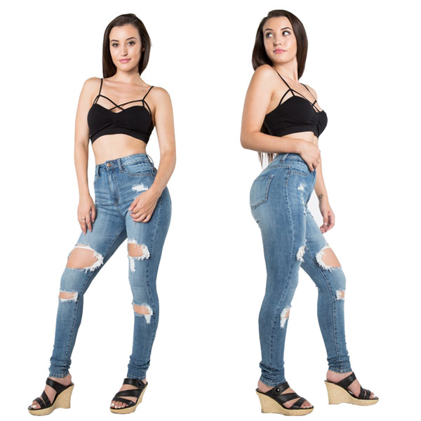 Cheap Women jeans High Strength Water washed skinny jeans Ladies fashion New Style Leisure Bottom Jeans Wholesale 236#