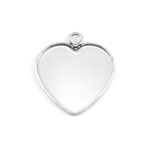heart tray pendant DIY cabochon base Jewelry making parts Stainless steel high quality polished Tray 50pcs