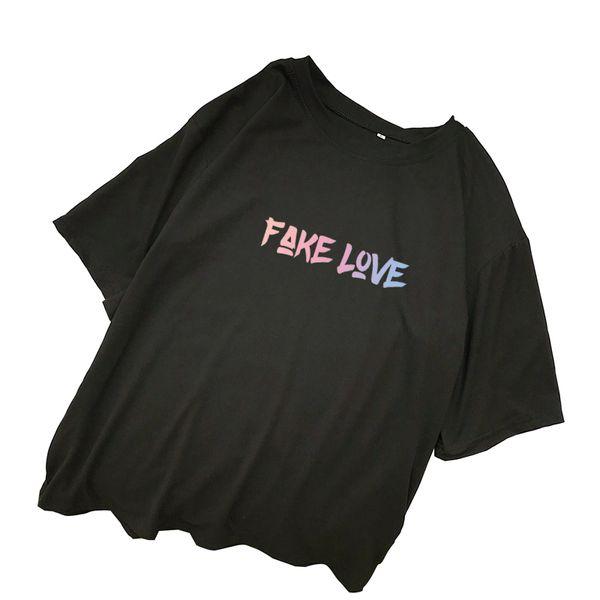Поддельные любовь альбом футболки женщины лето корейский Kpop письмо печать футболка Harajuku повседневная Kawaii топы уличная Camisas Mujer рубашка
