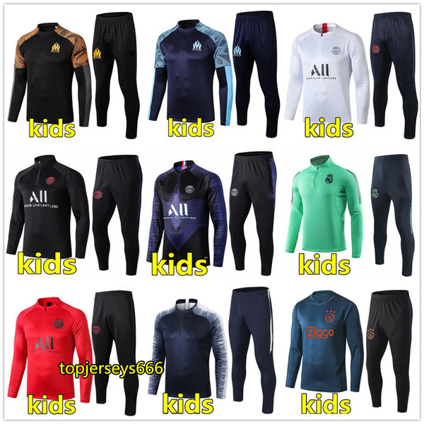 best selling 19 20 real madrid Ajax kids soccer tracksuit 2019 2020 hazard football training tracksuit 19 20 kids training suit jogging chandal