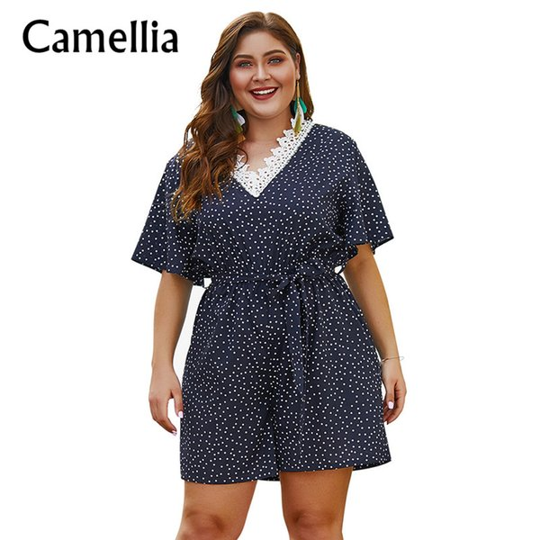 Plus Size Donna Estate Polka-Dot Flare Sleeve tuta blu scuro con Sash Ladies Casual Patchwork in pizzo Sexy Backless Pagliaccetti