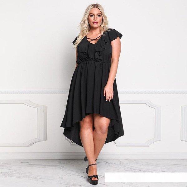 2017 kadın moda rahat artı boyutu elbiseler otus kol kısa önce uzun düzensiz uzun etekler büyük Avrupa ve Amerikan bel elbise