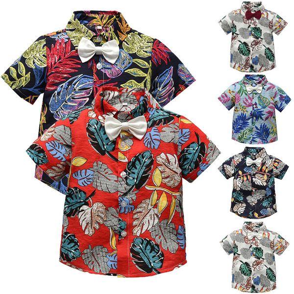 Kids Baby Boy Print Floral T-Shirt Summer Toddler Baby Bow Tie Gentleman Leaf Short Sleeve T-Shirt Tops Clothes #BL2