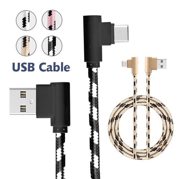USB C Type C Câble USB Tresse 90 Degrés Coude Mirco USB Adaptateur De Charge Android Chargeur De Données Câble Pour Samsung S9 Plus Huawei P20 Lite