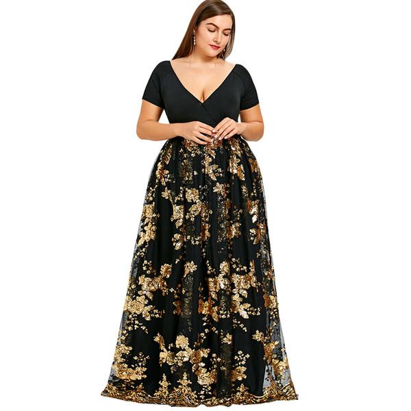 Compre Kenancy Floral Sparkly Maxi Vestido Largo 2018 Diseño Tallas Grandes Con Cuello En V Túnica Vestidos De Fiesta De Noche Mujeres Vestidos Largos