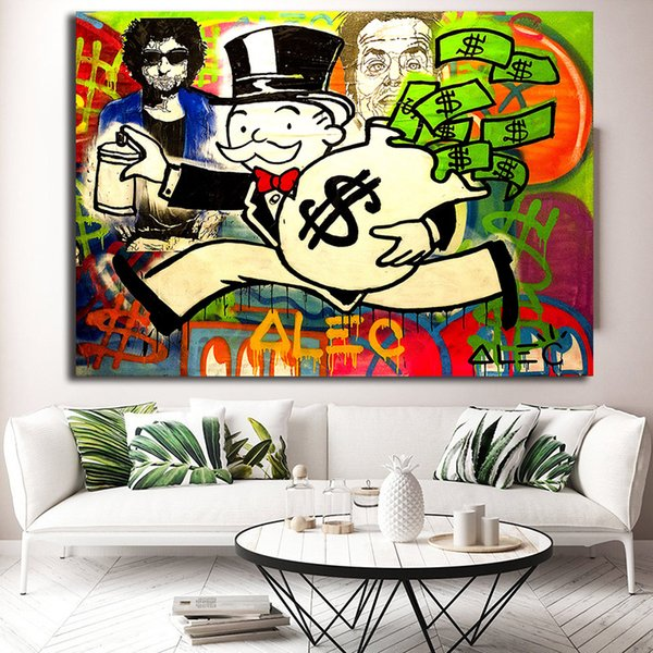 Laufen mit Geld Alec Monopolyingly Leinwand Gemälde für Wohnzimmer Poster Modernes Bild an der Wand Home Decoration