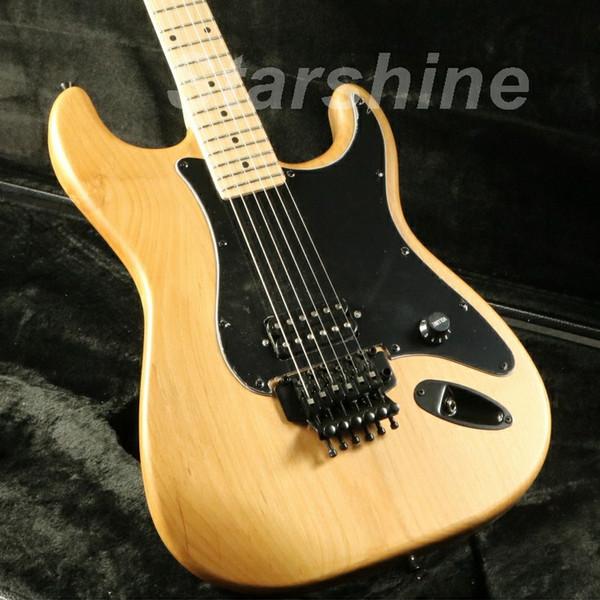 JEN6U024 Unfinished guitarra elétrica Kits FR Ponte Alder bordo Corpo Pescoço Escala de Bolt On Black Pickguard