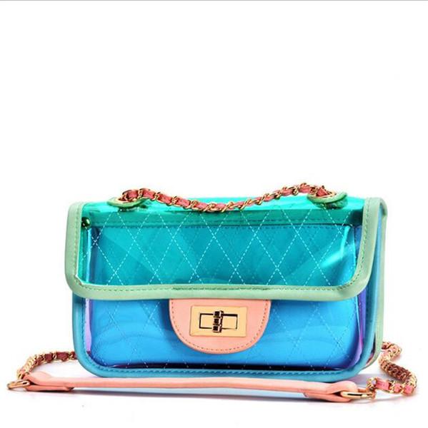 2019 Summer Brand New Hot 22cm Medium PVC Bag Women Clear Sweet Fresh Macaron Fashion Flap Shoulder Bag Ladies Genuine Leather Handbag