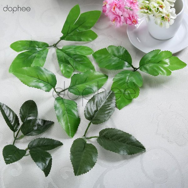 dophee 20pcs Artificial Silk Green Leaves rose Leaves For Wedding flower bouquet Decoration DIY nylon stocking flowers