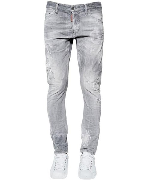 Mens Washed Grey Ripped Jeans Modedesigner Vintage Straight Pants Frühling Mittlere Taille Gebleichte Jeans