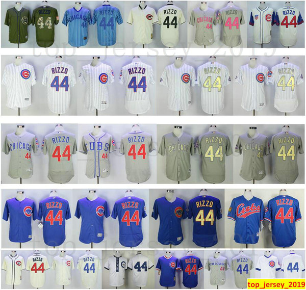 wholesale dealer 67b88 4de05 2019 Hot Sale Chicago Baseball Cubs 44 Anthony Rizzo Jersey Blue White Grey  Stitched Anthony Rizzo Jerseys Men Women Youth Kids Shirts Child From ...