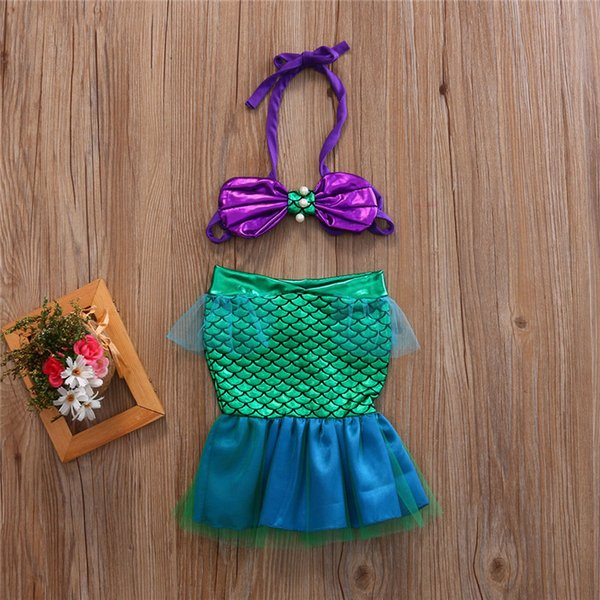 2017 Baby Kids Girls Little Mermaid Bikini Set Summer Beach Costumi da bagno Costume da bagno Bowknot Fascia Set di costumi Costumi da bagno Costumi da bagno