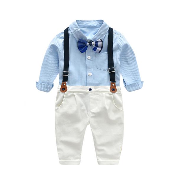Juego formal de ropa de otoño para niños Camisa azul cielo con corbata + Pantalones beige + Cinturón 3 piezas Conjunto de ropa infantil Caballero guapo 1 2 3