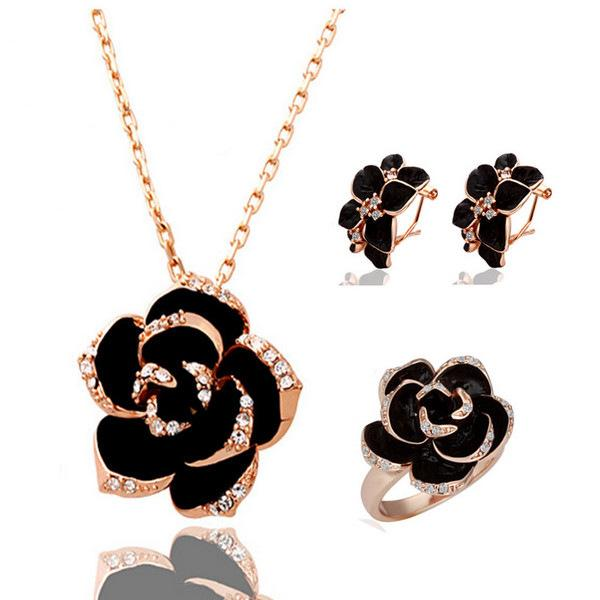 best selling New Fashion Rose Flower Enamel Jewelry Set Gold Color Black Painting Bridal Jewelry Sets for women