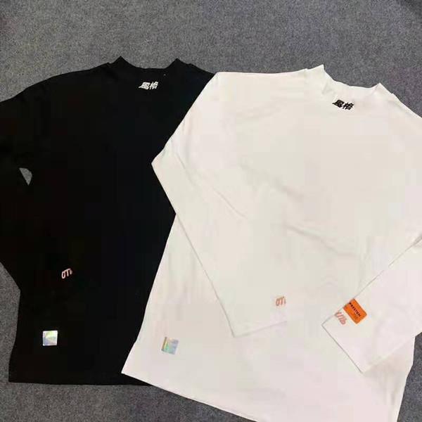Heron Preston stile cinese Lettera T Shirt 17FW Uomo Donna alta qualità Hip Hop collo alto moda maniche lunghe Tee 5 colori