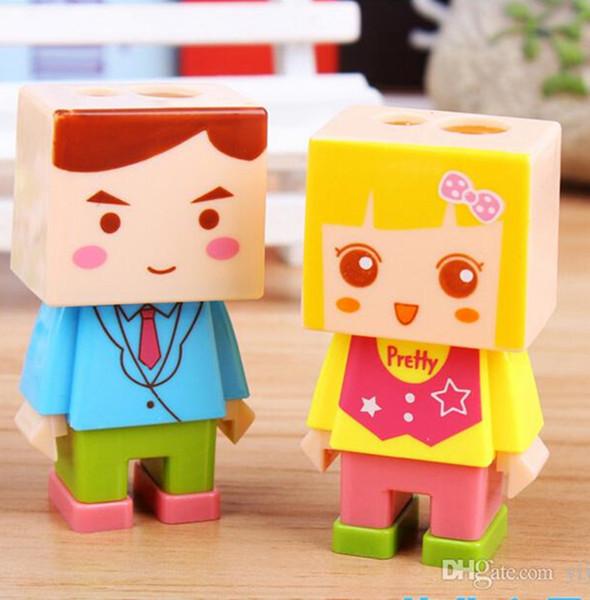 Cute Pencil Sharpener Eraser Set Pencil Cutter Boy Girl School Stationery Stuff Office Funny Supplies Desktop Gadgets