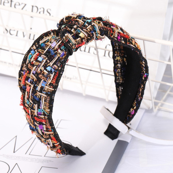 Black Small Incense Wind Knotted Copy Headband New Small Fragrance Retro Wild Middle Twisted Wide-Brimmed Hairpin Card