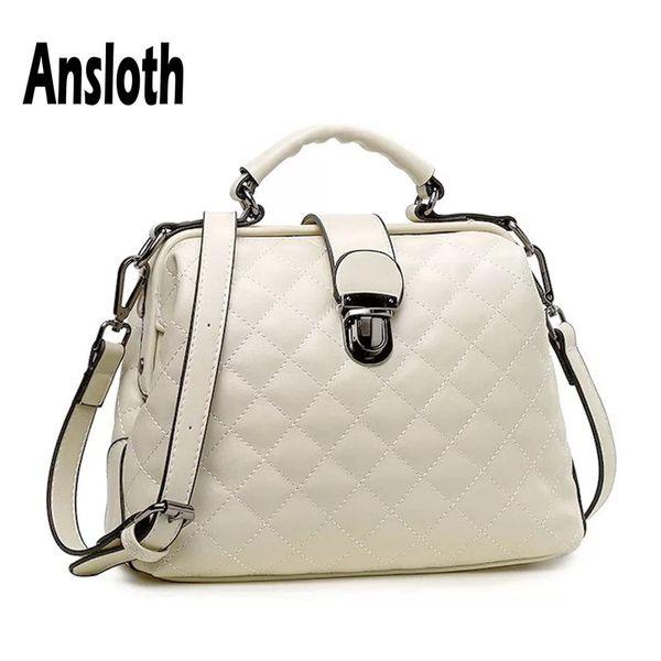 Ansloth Diamond Lattice Shoulder Bag Women Solid Color Doctor Bag PU Leather Handbag Ladies Crossbody Female Handbag HPS651