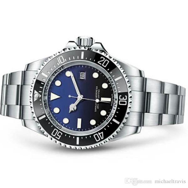 Vendita calda Mens Watch Deep Ceramic Lunetta SEA-Dweller Sapphire Cystal in acciaio inox con chiusura a scorrimento Glide Mens Orologi meccanici automatici