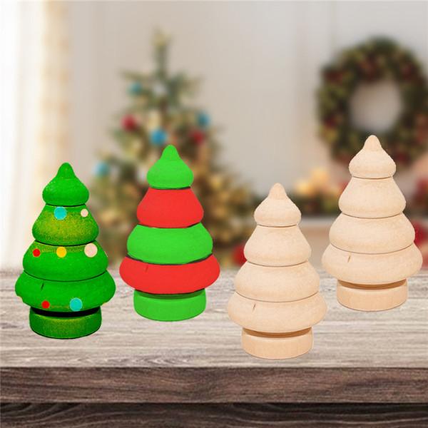 Niños Log Dolls Figuritas de madera Decoración navideña Artesanía / Niños DIY Pintura Muñecas de madera Árboles Muñeco de nieve Craft Toy CT0409