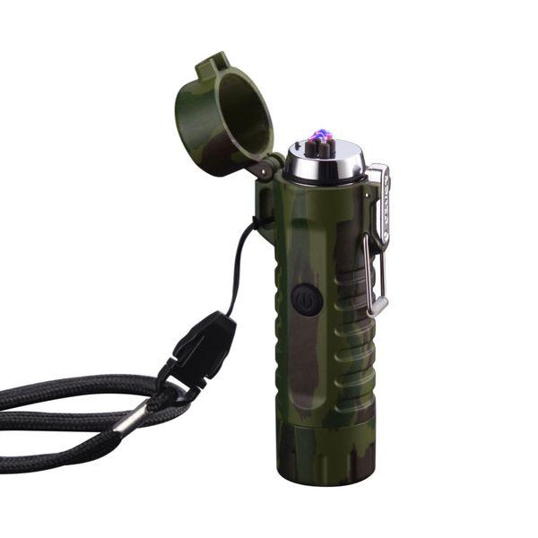 Multifunctional double-arc USB waterproof cross-pulse plasma charging electronic flashlamp windproof outdoor camping lighter