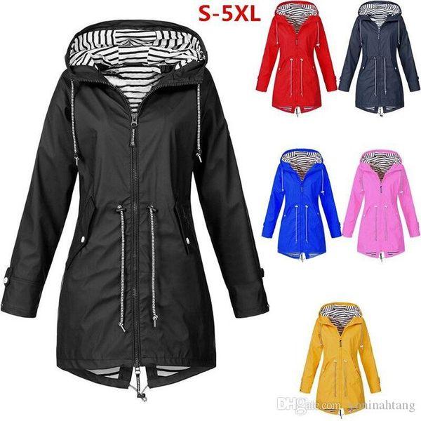 Langer Regen Mantel Outdoor Jacken mit Taschen Women Wasserdichte Solid Color Plus Size Fashion-windundurchlässiges Kapuze Raincoat Hot Verkauf