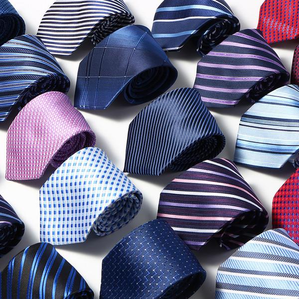 Men Ties Solid Color Stripe Flower Floral 8cm business wear Jacquard Necktie 2019 new polyester silk wedding Neck ties