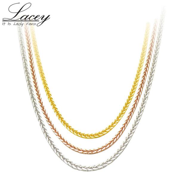 Réel 18k 18 pouces Au750 pour les femmes, rose blanc jaune chaîne en or collier bijoux cadeau J190703