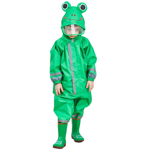 3-9 Years Old Children Cartoon Frog Rainwear Waterproof Hooded Raincoat Outwear Camp Poncho Kids Rain Jumpsuit