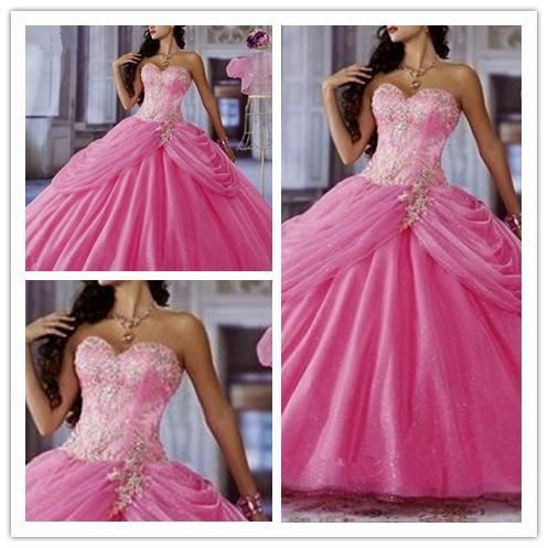Surpreendente! Vestido de baile de cristal brilhante Vestidos de quinceanera rosa elegante noite vestidos formais 2019 vestido de baile princesa doce 16 vestidos