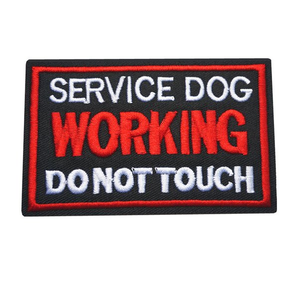 best selling 10x6CM Embroidery Sew Iron On Patches Letters Working Service Dog Black Red Badges For Dress Bag Jeans Hat T Shirt DIY Appliques Decor