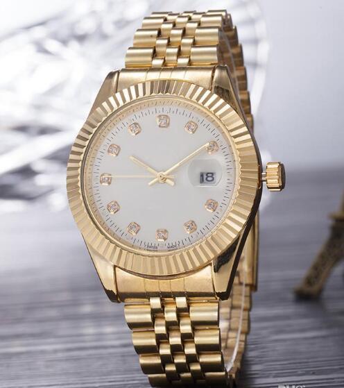 2019 Top Selling Brand Men Watch Gold Stainless Steel White Dial Wristwatch Male Quartz Watches Double Calendar Wrist watch man