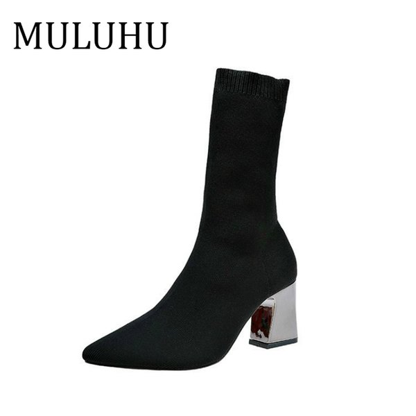 MULUHU Woman Autumn New Pattern Women's Shoes High With Sharp Elastic Force Boots In Canister Socks Boots Villus Line Fur