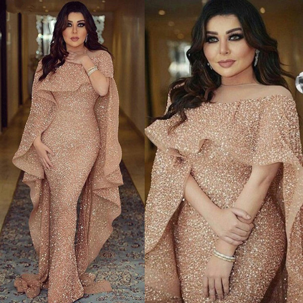 Sparkling Arabic Prom Dresses 2019 Elegant Bling Bling Mermaid Evening Dresses With Cape Dubai Dresses Evening Wear Plus Size DP0218