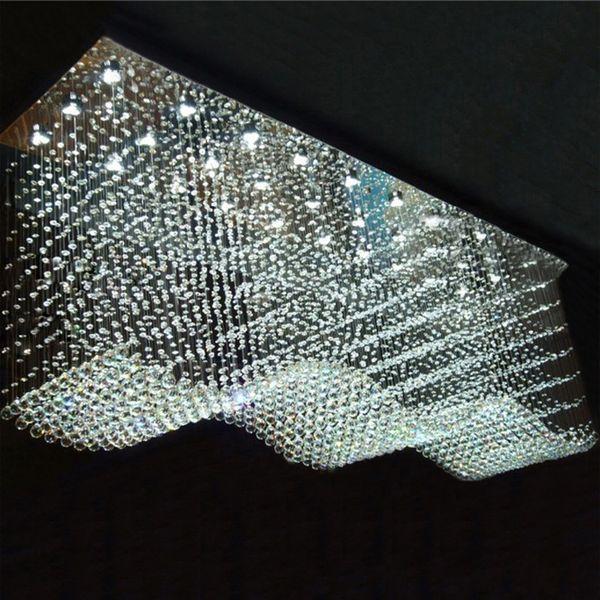 Modern Rectangle Crystal Chandelier Raindrop Flush Techo Lámpara de techo Lámparas colgantes para comedor / Lobby / Isla de cocina