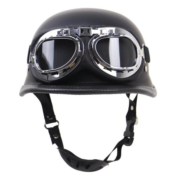 Casco de cuero medio de moto moto scooter vintage con gafas gratis Casco de moto alemán vintage
