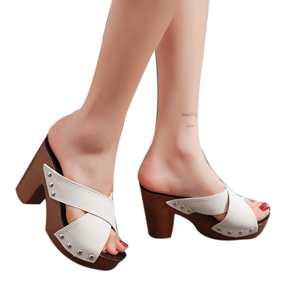 2019 New Women Fashion Shoes Women Cross Strap Chunky Heel Sandal Thick High-Heeled Flip Flop Open Toe Sandal Platform