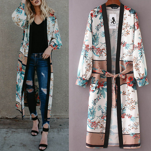 Womens made of high quality materials Belt Bandage Shawl Print Kimono Cardigan Top Cover Up Blouse Beachwear Gift