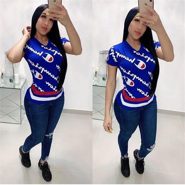 Летняя футболка для женщин чемпионов Футболка с коротким рукавом Хлопковый пуловер CHAMPI Футболки Футболки для девочек Письмо с принтом Тис Верхняя одежда C3266