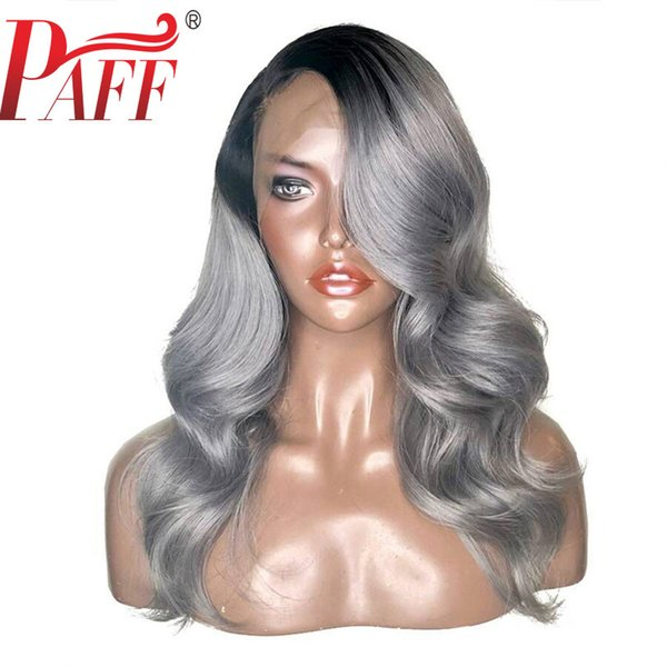 PAFF Ombre Grey Full Lace Wig With Baby Hair Remy Hair Brazilian Preplucked Human Hair Wig Two Tone Wigs With Transparent Lace