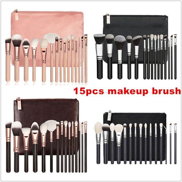 Hot marca 15 pçs / set escova com saco de pu maquiagem profissional escova para pó fundação blush sombra delineador lápis de mistura