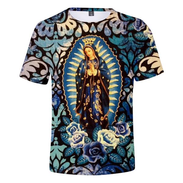 Erkekler için Notre-Dame De Paris T Gömlek Guadalupe Our Lady 3D Desen Tasarımcı Yaz erkek T-shirt Notre Dame Kısa kollu Tops Giyim