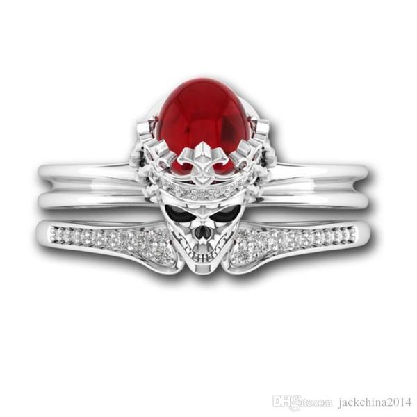 Victoria Wieck 2018 Top Selling Punk Jewelry 925 Sterling Silver Filled Red Garnet CZ Diamond Gemstones Women Wedding Skull Bridal Ring Set