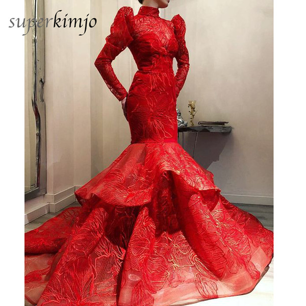 Arabic Prom Dresses 2019 Long Sleeve Lace Mermaid High Neck Puffy Floor Length Red Evening Dresses Gowns