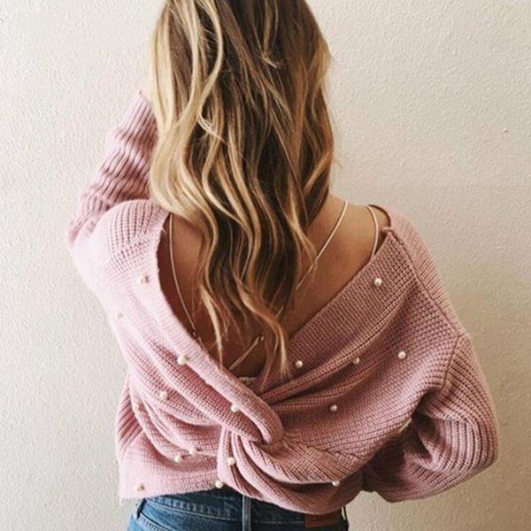 4 colors V Neck Twisted Back Sweater Women Jumpers Autumn Casual Tops Long Sleeve Long Sleeve Plain Pullovers Sweaters Women
