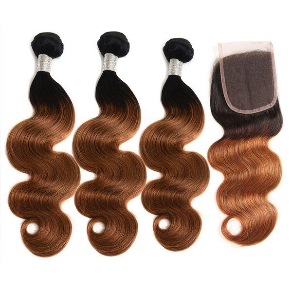 Top Verkauf Ombre brasilianische menschliche Haar Körperwelle 3 Bundles mit Verschluss 2 Ton 1B / 30 Ombre Bundles mit 4x4 Spitze Verschluss