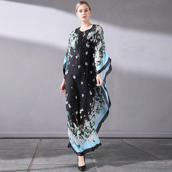 Elegant Holiday Bat Big Swing 2019 Summer New Round Neck Tied Bandwidth Pine Flower Print Dress
