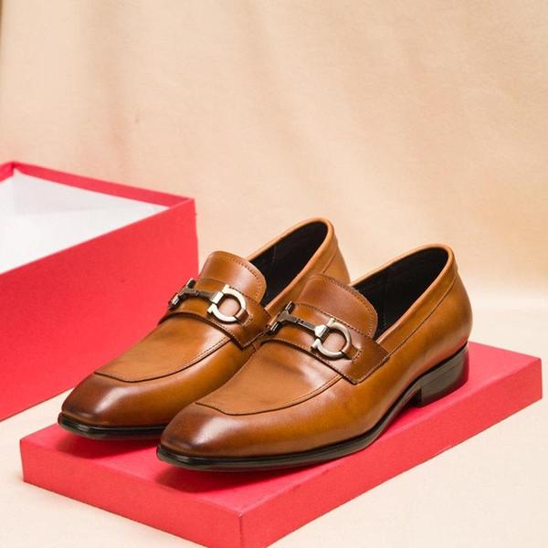 Orijinal kutu k2123 ile Yeni varış erkek iş ayakkabıları tasarımcılar moda lüks spor ayakkabılar deri Düz metal ayakkabıları klasik rahat ayakkabı